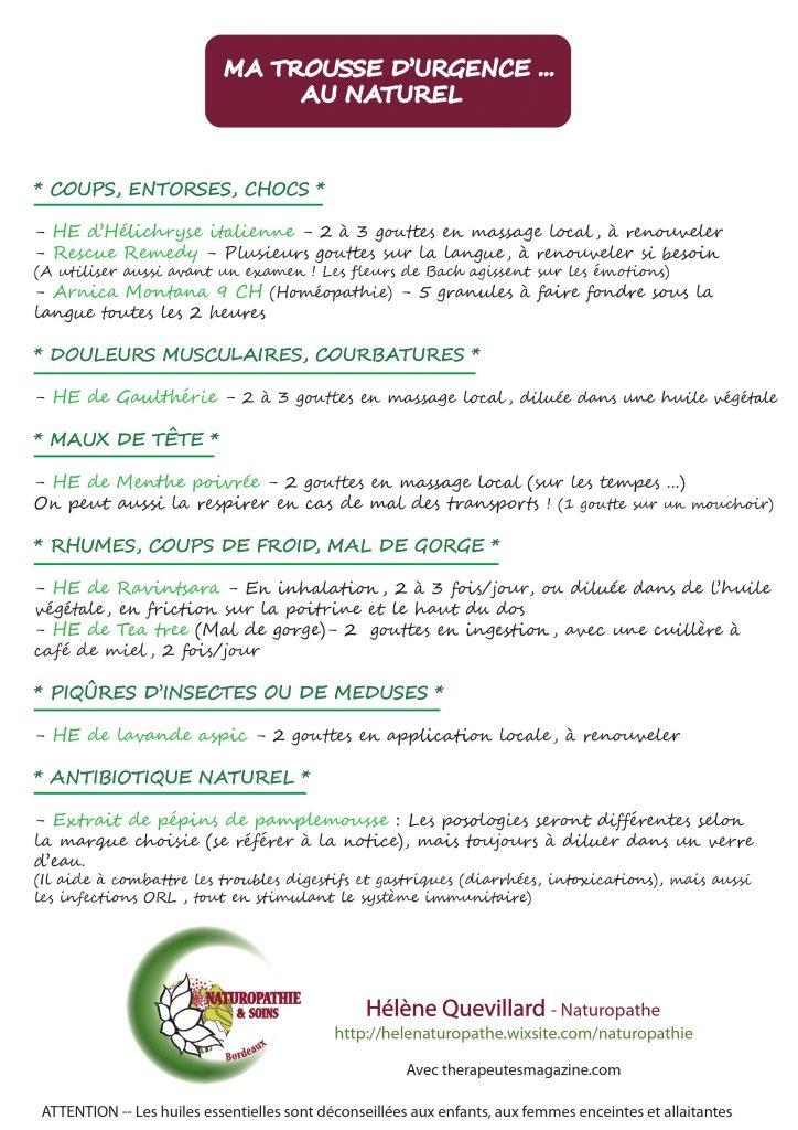 Trousse d'urgence au naturel - therapeutesmagazine.com